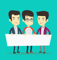 group of young men holding white blank board vector image