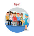 colorful people on airplane template vector image