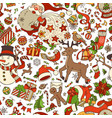 cartoon merry christmas seamless pattern vector image