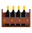wine bottles in a wooden crate icon isolated vector image