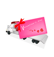 Tractor Trailer Flatbed Sending A Valentine Card vector image