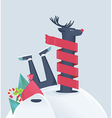 Funny reindeer in a snowdrift vector image vector image