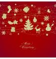 Golden Christmas decorations over red background vector image vector image