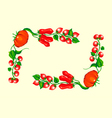 stylized tomatoes corner frame vector image vector image