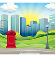 City scene with office buildings and park vector image