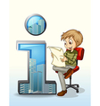 A man reading beside the number one symbol vector image