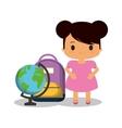 cartoon girl pink dress bag and globe vector image