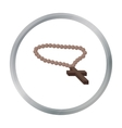 Christian rosary icon in cartoon style isolated on vector image