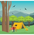couple camping in forest man and woman with fire vector image