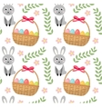 Easter seamless pattern with eggs basket and vector image