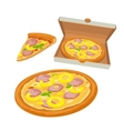 Whole pizza hawaiian in open white box and slice vector image