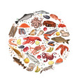 colorful sketch seafood products round concept vector image