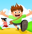 Two happy kids running to school vector image vector image