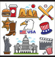 usa america culture and amercian travel landmarks vector image
