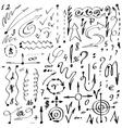 Simple hand-drawn arrows symbols and numerals Set vector image