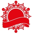 Red snowflake and tape Christmas label template vector image vector image
