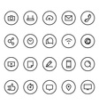 Different line style icons on circles set vector image