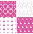 Four abstract geometric pink seamless patterns set vector image