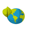 global earth planet with leaf symbol to vector image