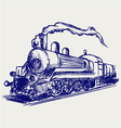 Steam train with smoke vector image vector image