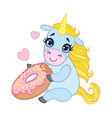 cartoon light blue lovely unicorn holding pink vector image