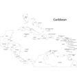 Outline Caribbean map vector image