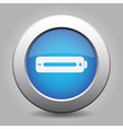 blue metal button with battery full vector image