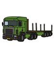 Green flat semitrailer truck vector image