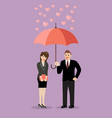 businessman flirt with a woman under an umbrella vector image