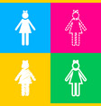 girl sign four styles of icon on vector image