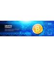 golden bitcoin on world map horizontal banner web vector image