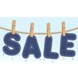 jeans sale drying on a clothesline vector image