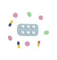 Pills blister and capsules flat set vector image