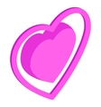 Pink heart icon isometric 3d style vector image