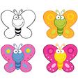 Butterflies Cartoon Mascot Characters Collection vector image vector image
