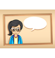 A wooden frame with a strict businesswoman vector image