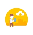 man uses a tablet during the journey flat design vector image
