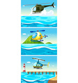 Helicopter flying over the ocean vector image