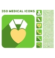 Heart Award Icon and Medical Longshadow Icon Set vector image