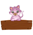 An adorable cat leaning over the empty wooden vector image