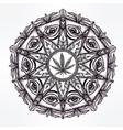 cannabis trip eye mandala symbol vector image