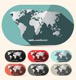 Flat Design Paper World Map Set vector image