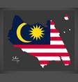 Johor malaysia map with malaysian national flag vector image