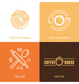 logo design element with icons in trendy linear vector image