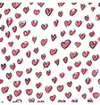 seamless hearts hand drawn pattern vector image
