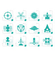 stylized different kinds of future spacecraft icon vector image