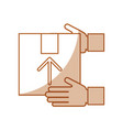 hand human with box carton delivery icon vector image vector image
