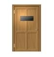 Realistic Wood Door with Blanc Black Plate vector image