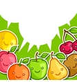 Background with cute kawaii smiling fruits vector image vector image