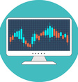 Stock market concept Flat design Icon in turquoise vector image